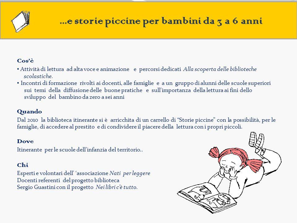 ...e storie piccine per bambini da 3 a 6 anni Cos'è Attività di lettura ad alta voce e animazione e percorsi dedicati Alla scoperta delle biblioteche