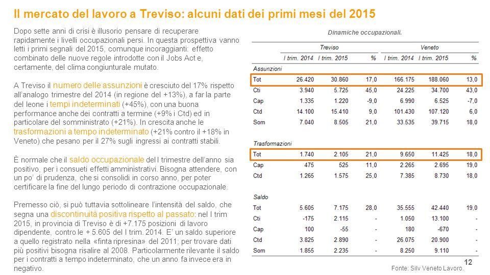 Il mercato del lavoro a Treviso: alcuni dati dei primi mesi del 2015 12 Fonte: Silv Veneto Lavoro.