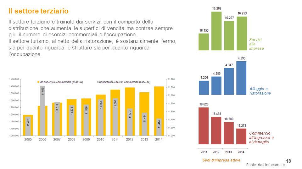 Il settore terziario 18 Il settore terziario è trainato dai servizi, con il comparto della distribuzione che aumenta le superfici di vendita ma contrae sempre più il numero di esercizi commerciali e l'occupazione.