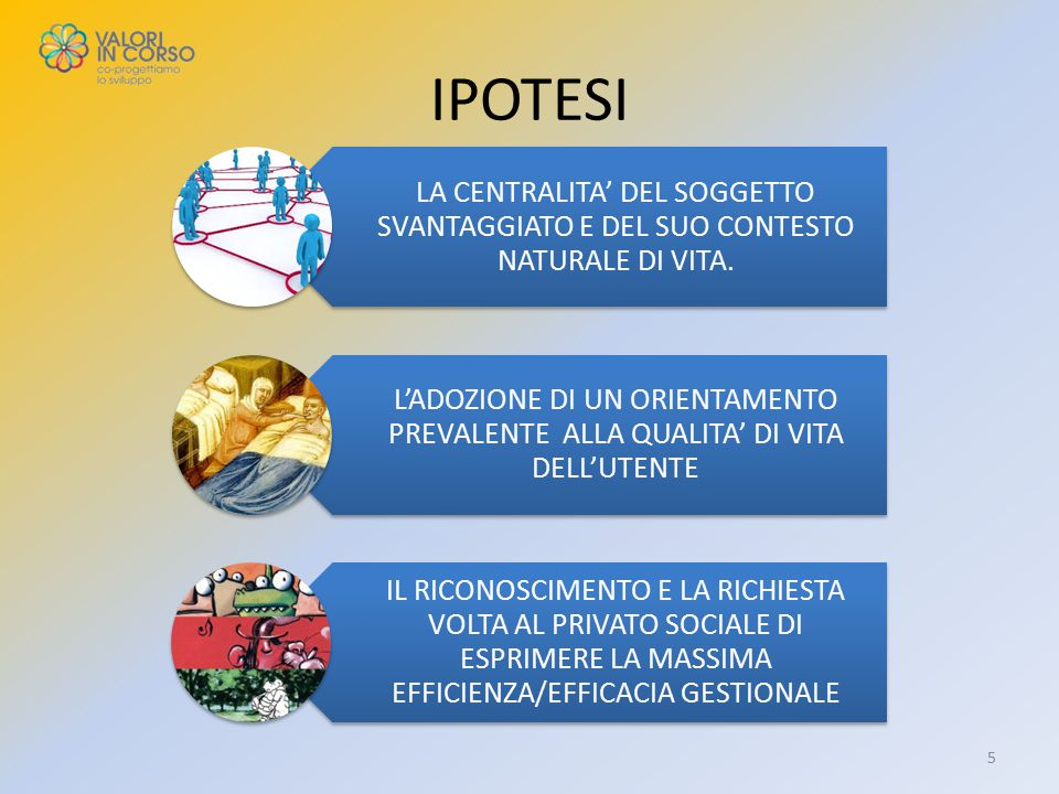 IPOTESI LA CENTRALITA' DEL SOGGETTO SVANTAGGIATO E DEL SUO CONTESTO NATURALE DI VITA.