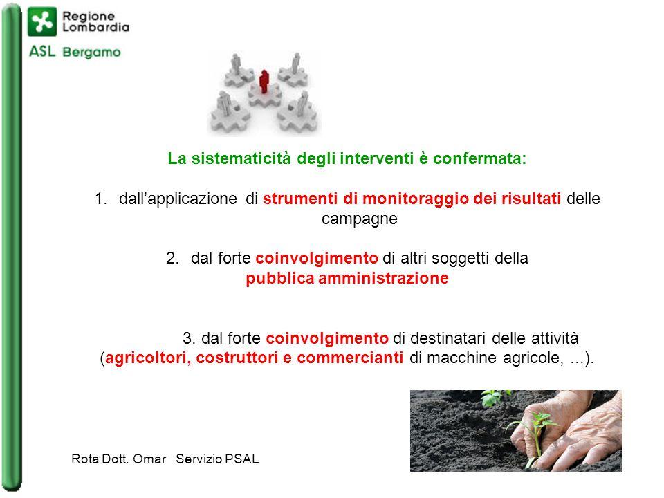La sistematicità degli interventi è confermata: 1.dall'applicazione di strumenti di monitoraggio dei risultati delle campagne 2.dal forte coinvolgimento di altri soggetti della pubblica amministrazione 3.