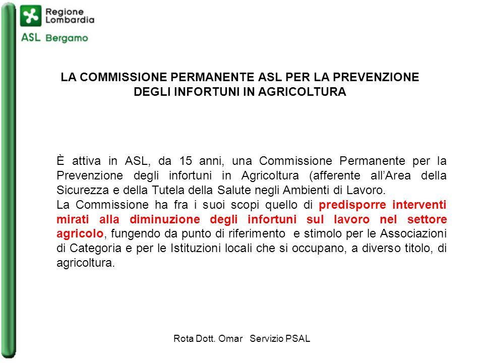 LA COMMISSIONE PERMANENTE ASL PER LA PREVENZIONE DEGLI INFORTUNI IN AGRICOLTURA È attiva in ASL, da 15 anni, una Commissione Permanente per la Prevenzione degli infortuni in Agricoltura (afferente all'Area della Sicurezza e della Tutela della Salute negli Ambienti di Lavoro.