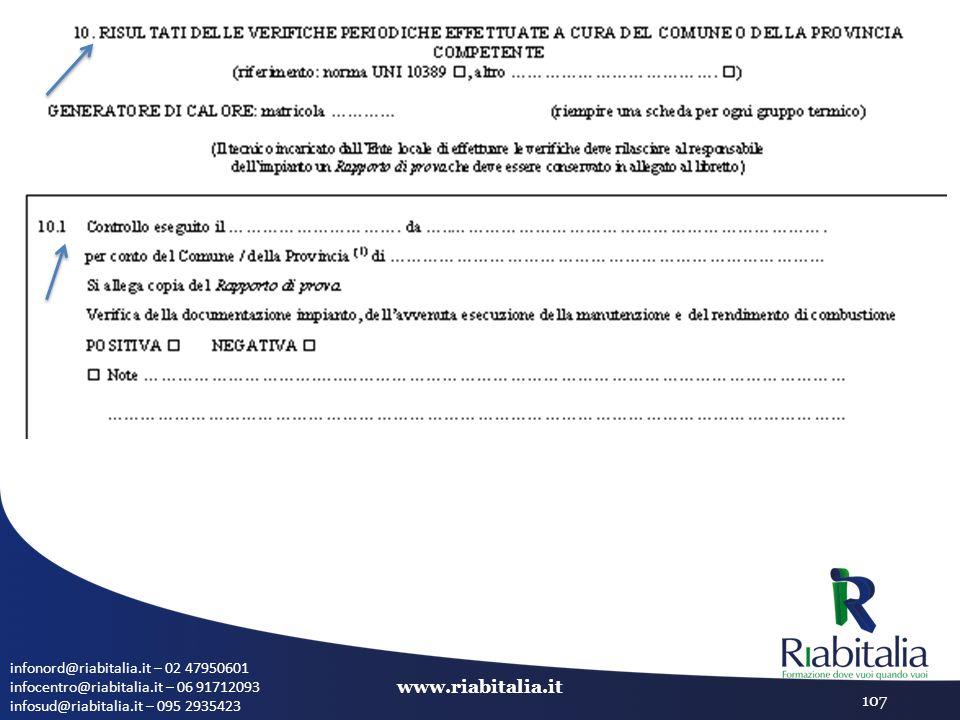 infonord@riabitalia.it – 02 47950601 infocentro@riabitalia.it – 06 91712093 infosud@riabitalia.it – 095 2935423 www.riabitalia.it 107