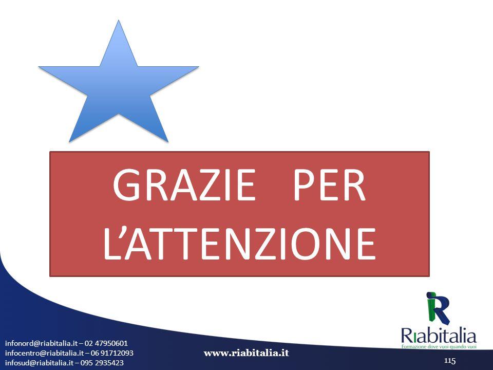 infonord@riabitalia.it – 02 47950601 infocentro@riabitalia.it – 06 91712093 infosud@riabitalia.it – 095 2935423 www.riabitalia.it 115 GRAZIE PER L'ATT