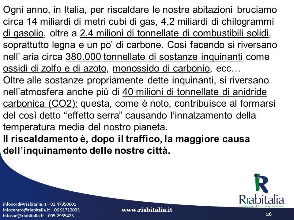 infonord@riabitalia.it – 02 47950601 infocentro@riabitalia.it – 06 91712093 infosud@riabitalia.it – 095 2935423 www.riabitalia.it 26 Ogni anno, in Ita