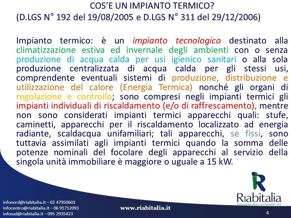 infonord@riabitalia.it – 02 47950601 infocentro@riabitalia.it – 06 91712093 infosud@riabitalia.it – 095 2935423 www.riabitalia.it 4 COS'E UN IMPIANTO