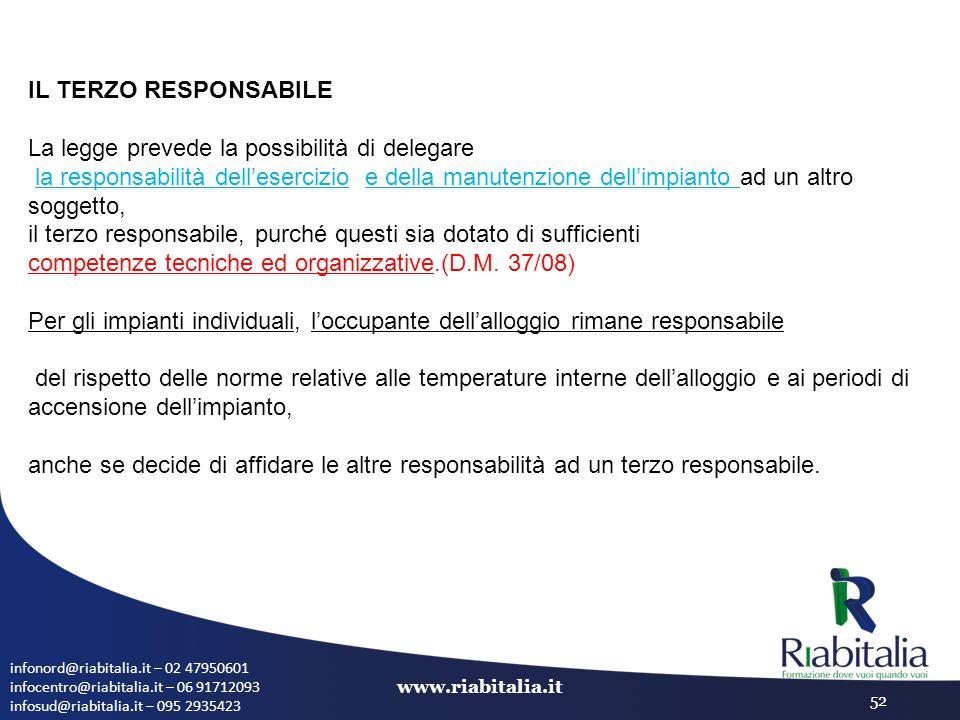 infonord@riabitalia.it – 02 47950601 infocentro@riabitalia.it – 06 91712093 infosud@riabitalia.it – 095 2935423 www.riabitalia.it 52 IL TERZO RESPONSA