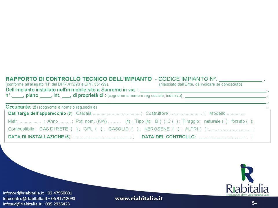 infonord@riabitalia.it – 02 47950601 infocentro@riabitalia.it – 06 91712093 infosud@riabitalia.it – 095 2935423 www.riabitalia.it 54