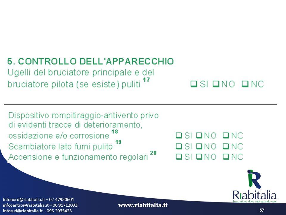 infonord@riabitalia.it – 02 47950601 infocentro@riabitalia.it – 06 91712093 infosud@riabitalia.it – 095 2935423 www.riabitalia.it 57