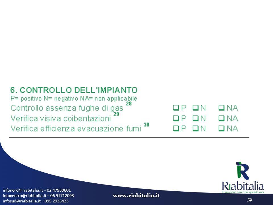 infonord@riabitalia.it – 02 47950601 infocentro@riabitalia.it – 06 91712093 infosud@riabitalia.it – 095 2935423 www.riabitalia.it 59