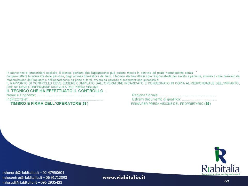infonord@riabitalia.it – 02 47950601 infocentro@riabitalia.it – 06 91712093 infosud@riabitalia.it – 095 2935423 www.riabitalia.it 62