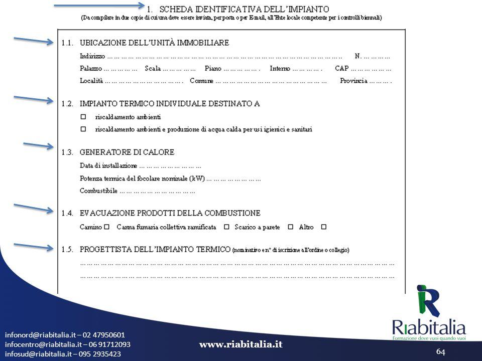 infonord@riabitalia.it – 02 47950601 infocentro@riabitalia.it – 06 91712093 infosud@riabitalia.it – 095 2935423 www.riabitalia.it 64