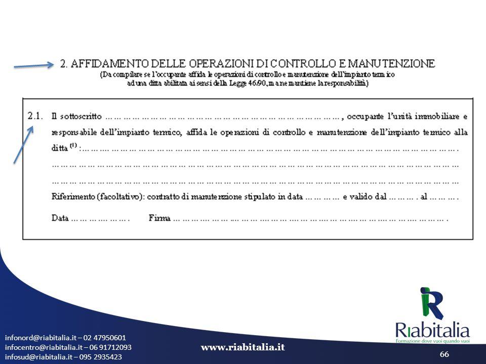 infonord@riabitalia.it – 02 47950601 infocentro@riabitalia.it – 06 91712093 infosud@riabitalia.it – 095 2935423 www.riabitalia.it 66