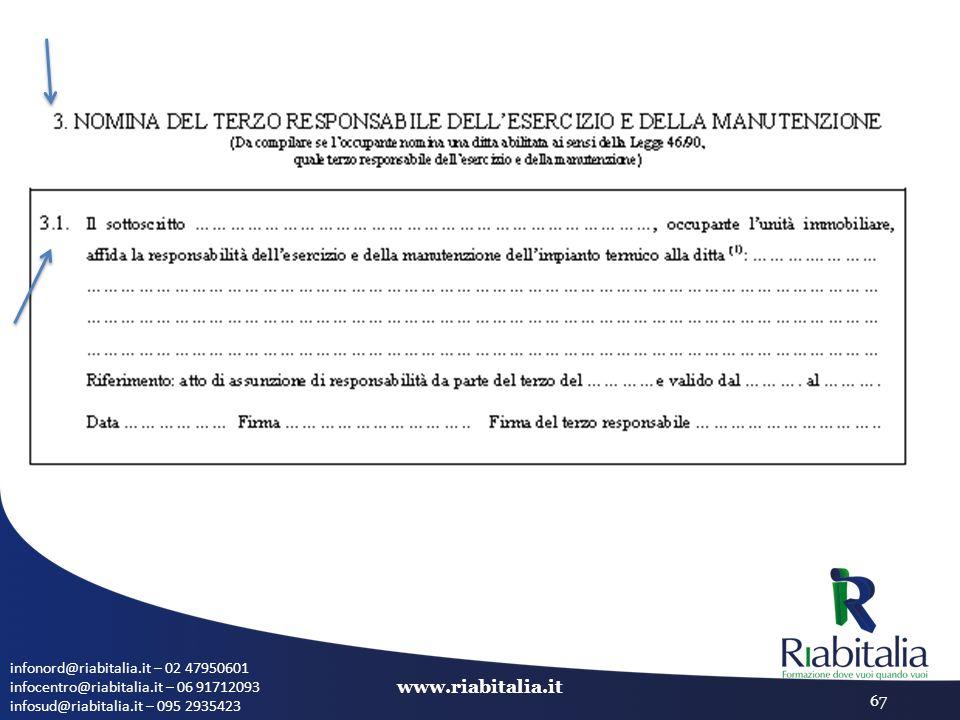 infonord@riabitalia.it – 02 47950601 infocentro@riabitalia.it – 06 91712093 infosud@riabitalia.it – 095 2935423 www.riabitalia.it 67