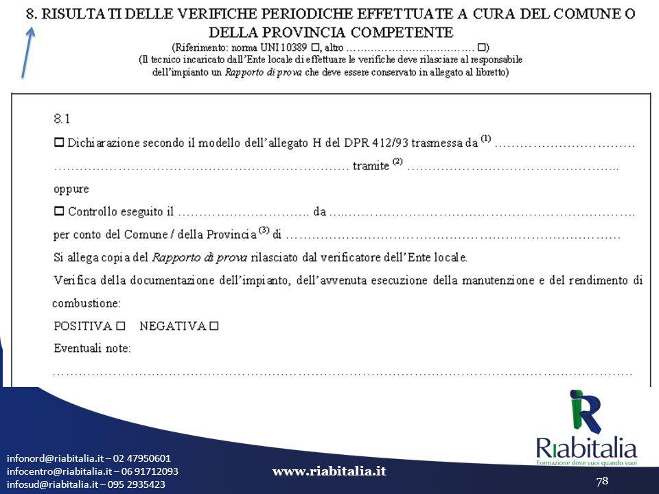infonord@riabitalia.it – 02 47950601 infocentro@riabitalia.it – 06 91712093 infosud@riabitalia.it – 095 2935423 www.riabitalia.it 78