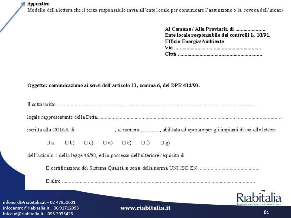 infonord@riabitalia.it – 02 47950601 infocentro@riabitalia.it – 06 91712093 infosud@riabitalia.it – 095 2935423 www.riabitalia.it 81