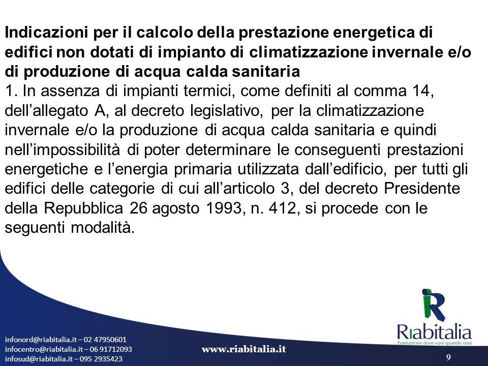 infonord@riabitalia.it – 02 47950601 infocentro@riabitalia.it – 06 91712093 infosud@riabitalia.it – 095 2935423 www.riabitalia.it 9 Indicazioni per il