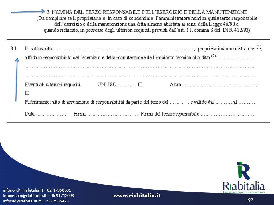 infonord@riabitalia.it – 02 47950601 infocentro@riabitalia.it – 06 91712093 infosud@riabitalia.it – 095 2935423 www.riabitalia.it 92