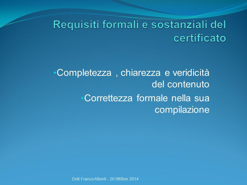 Quali certificati ? Dott Franco Alberti - 20 0tt0bre 2014