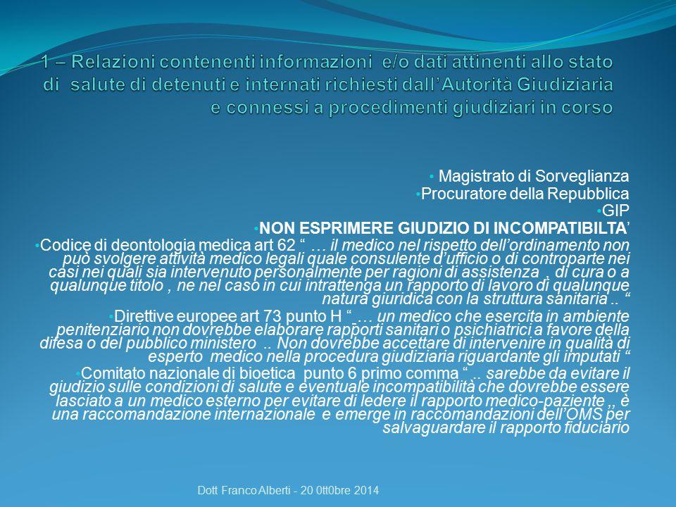 La certificazione va fatta dal medico direttamente Indirizzata alla direzione Va motivata dettagliatamente Dott Franco Alberti - 20 0tt0bre 2014
