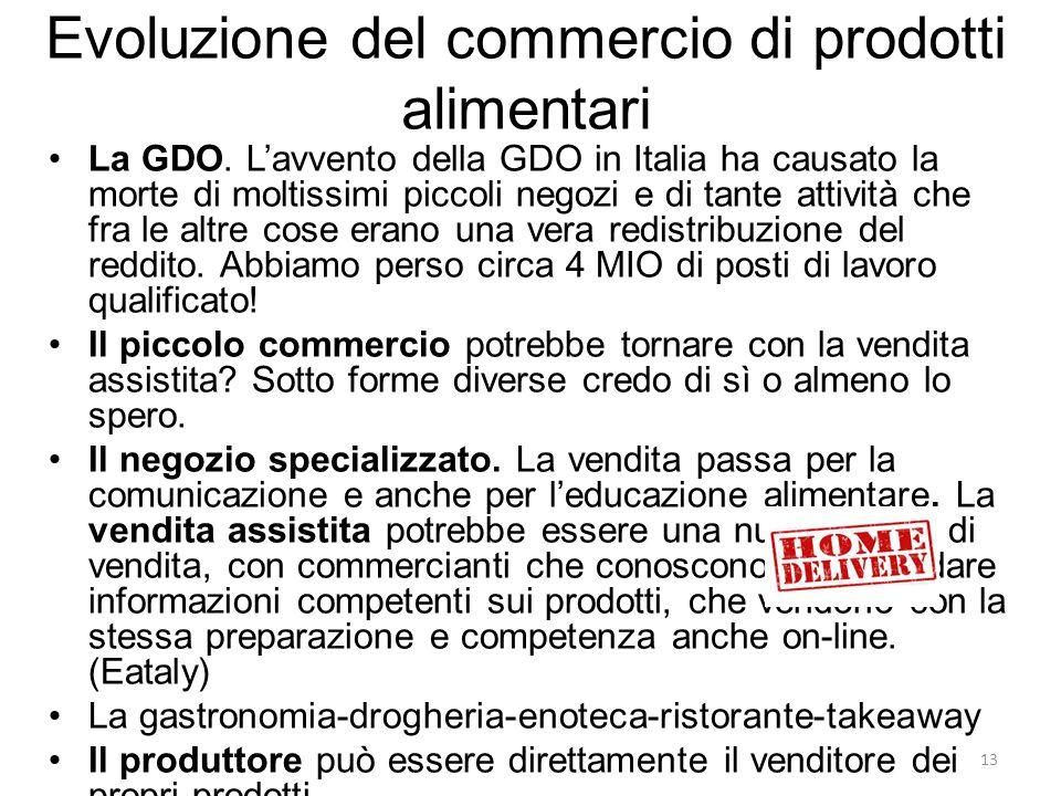 Evoluzione del commercio di prodotti alimentari La GDO. L'avvento della GDO in Italia ha causato la morte di moltissimi piccoli negozi e di tante atti