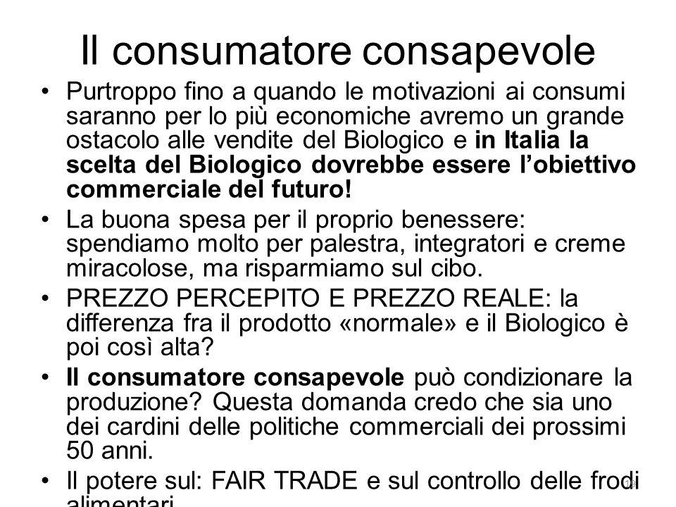 Il consumatore consapevole Purtroppo fino a quando le motivazioni ai consumi saranno per lo più economiche avremo un grande ostacolo alle vendite del
