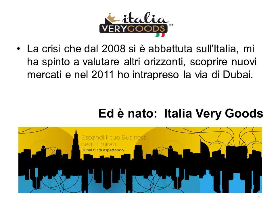 La crisi che dal 2008 si è abbattuta sull'Italia, mi ha spinto a valutare altri orizzonti, scoprire nuovi mercati e nel 2011 ho intrapreso la via di D