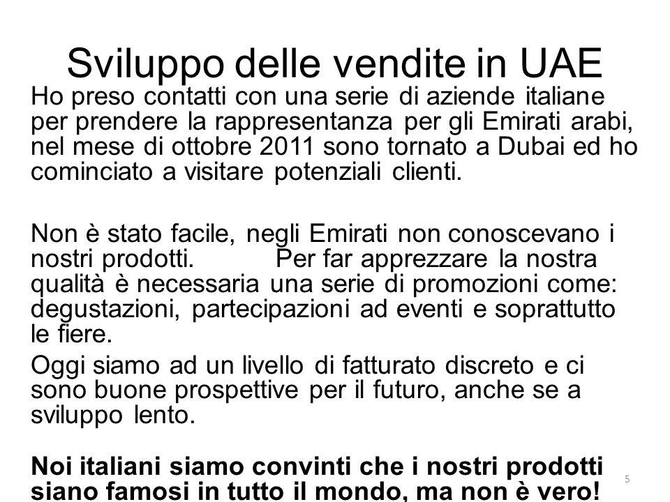 Sviluppo delle vendite in UAE Ho preso contatti con una serie di aziende italiane per prendere la rappresentanza per gli Emirati arabi, nel mese di ot