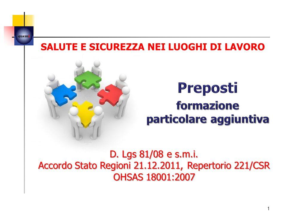 Corso strutturato secondo gli argomenti previsti dall'Accordo Stato Regioni del 21 dicembre 2011.
