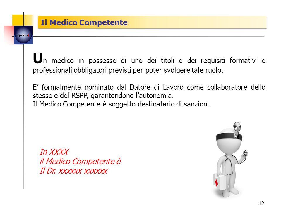U n medico in possesso di uno dei titoli e dei requisiti formativi e professionali obbligatori previsti per poter svolgere tale ruolo.
