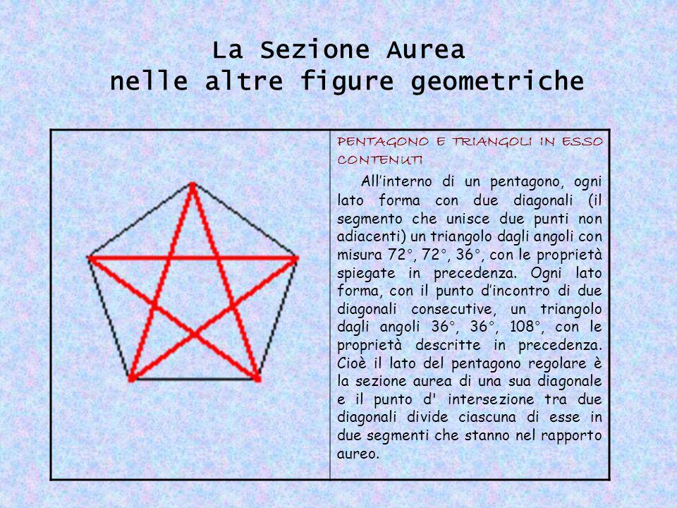 La Sezione Aurea nelle altre figure geometriche PENTAGONO E TRIANGOLI IN ESSO CONTENUTI All'interno di un pentagono, ogni lato forma con due diagonali