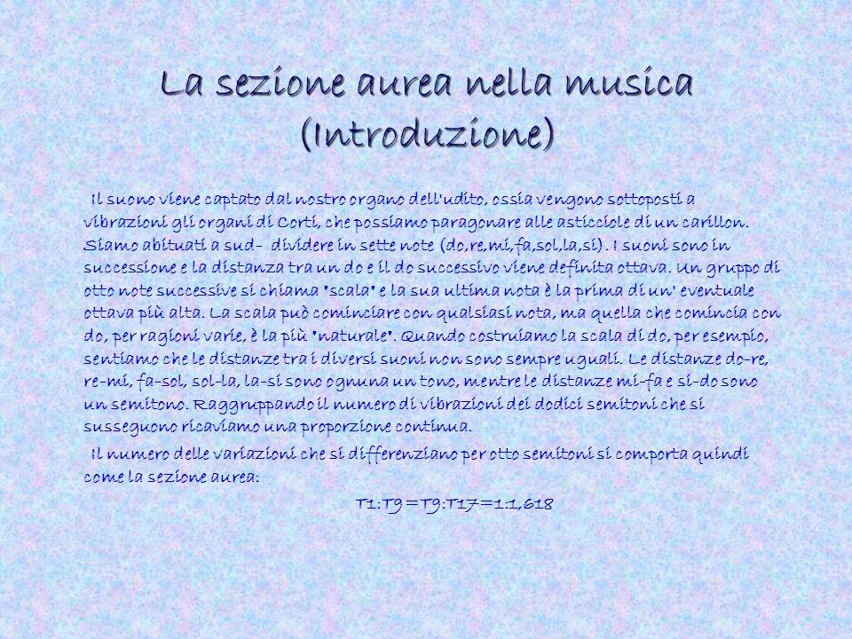 La sezione aurea nella musica (Introduzione) Il suono viene captato dal nostro organo dell'udito, ossia vengono sottoposti a vibrazioni gli organi di
