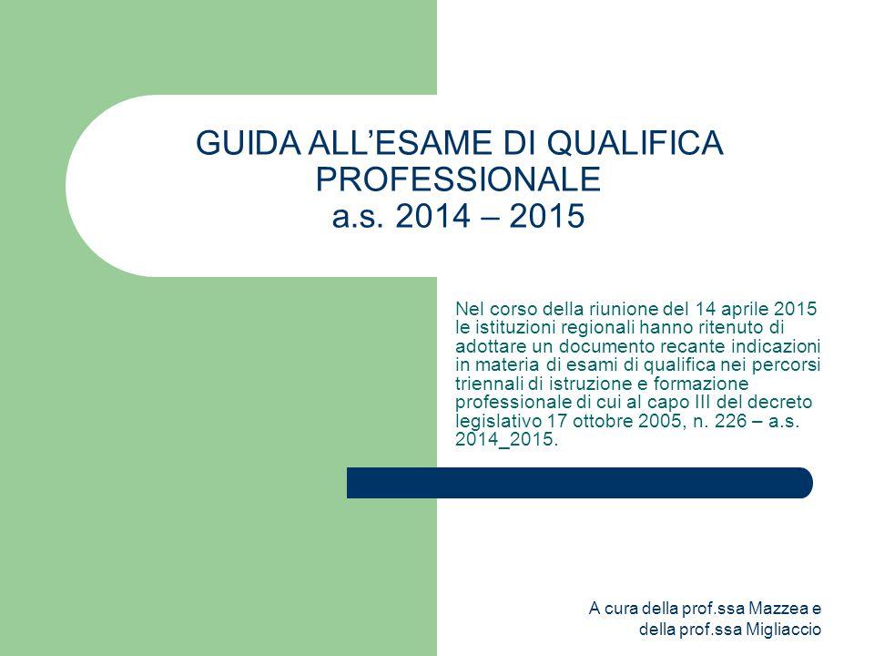 A cura della prof.ssa Mazzea e della prof.ssa Migliaccio GUIDA ALL'ESAME DI QUALIFICA PROFESSIONALE a.s.