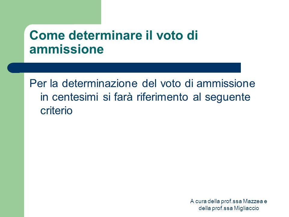 A cura della prof.ssa Mazzea e della prof.ssa Migliaccio Come determinare il voto di ammissione Per la determinazione del voto di ammissione in centesimi si farà riferimento al seguente criterio