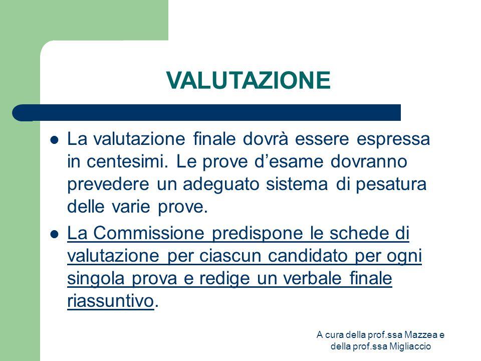 A cura della prof.ssa Mazzea e della prof.ssa Migliaccio VALUTAZIONE La valutazione finale dovrà essere espressa in centesimi.