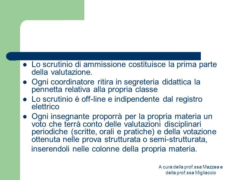 A cura della prof.ssa Mazzea e della prof.ssa Migliaccio Lo scrutinio di ammissione costituisce la prima parte della valutazione.