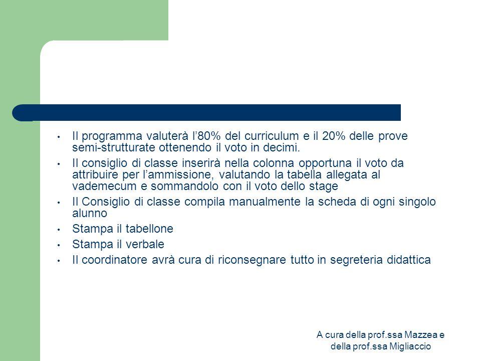 A cura della prof.ssa Mazzea e della prof.ssa Migliaccio Il programma valuterà l'80% del curriculum e il 20% delle prove semi-strutturate ottenendo il voto in decimi.