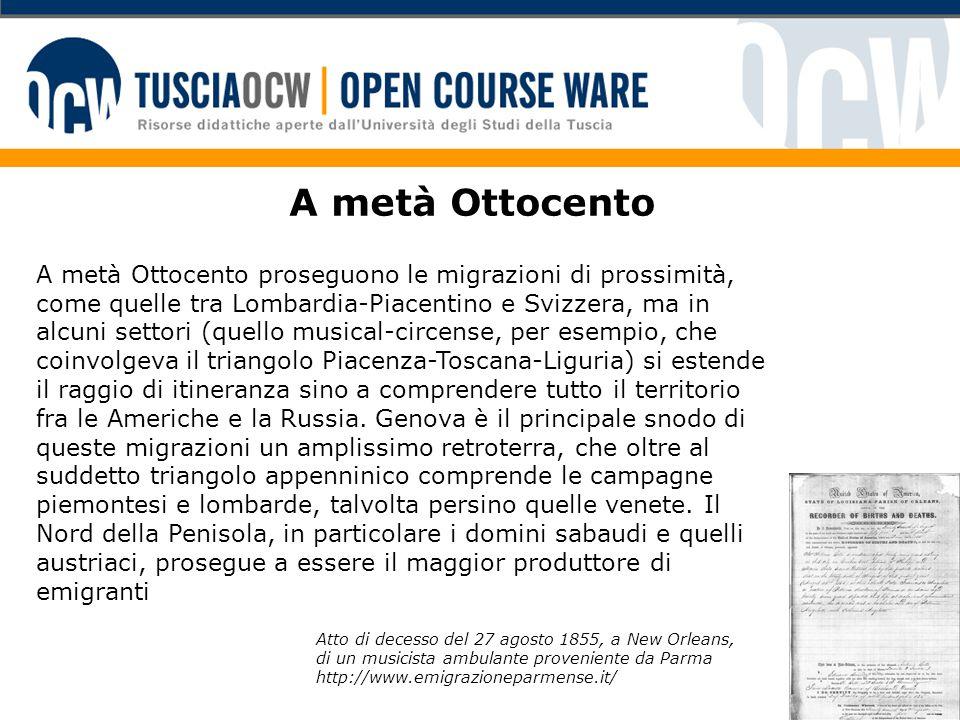 A metà Ottocento A metà Ottocento proseguono le migrazioni di prossimità, come quelle tra Lombardia-Piacentino e Svizzera, ma in alcuni settori (quell