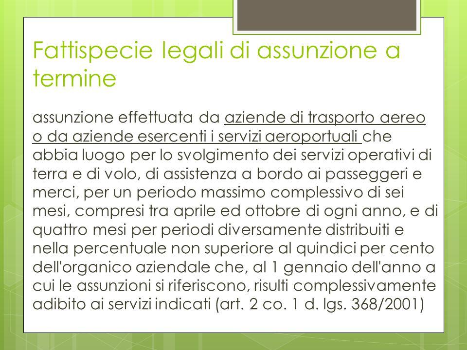 Fattispecie legali di assunzione a termine assunzione effettuata da aziende di trasporto aereo o da aziende esercenti i servizi aeroportuali che abbia