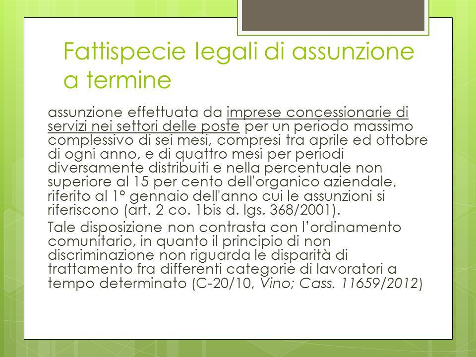 Fattispecie legali di assunzione a termine assunzione effettuata da imprese concessionarie di servizi nei settori delle poste per un periodo massimo c