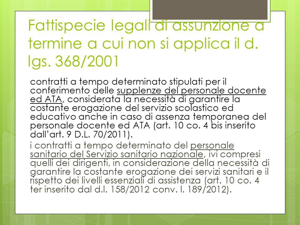 Fattispecie legali di assunzione a termine a cui non si applica il d. lgs. 368/2001 contratti a tempo determinato stipulati per il conferimento delle