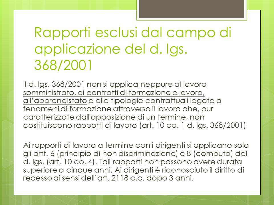 Rapporti esclusi dal campo di applicazione del d. lgs. 368/2001 Il d. lgs. 368/2001 non si applica neppure al lavoro somministrato, ai contratti di fo