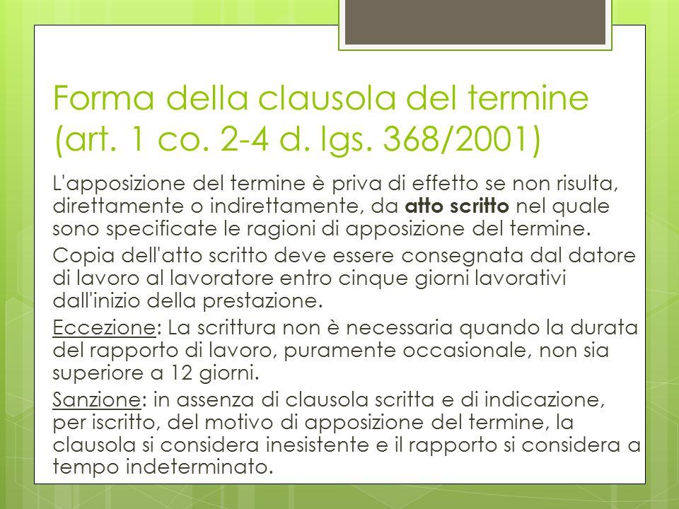 Forma della clausola del termine (art. 1 co. 2-4 d. lgs. 368/2001) L'apposizione del termine è priva di effetto se non risulta, direttamente o indiret