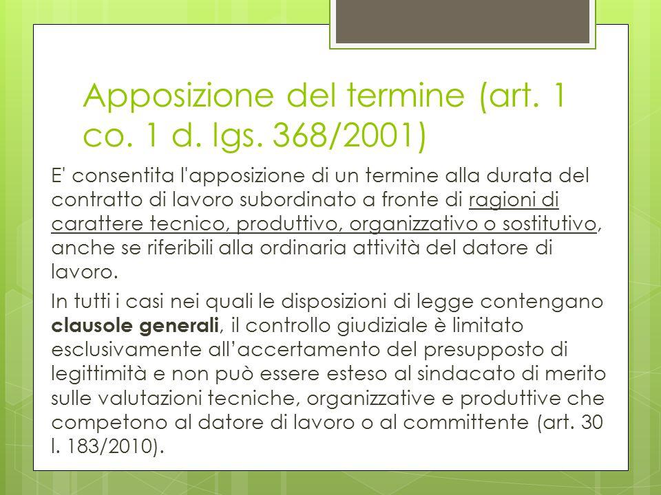 Apposizione del termine (art. 1 co. 1 d. lgs. 368/2001) E' consentita l'apposizione di un termine alla durata del contratto di lavoro subordinato a fr