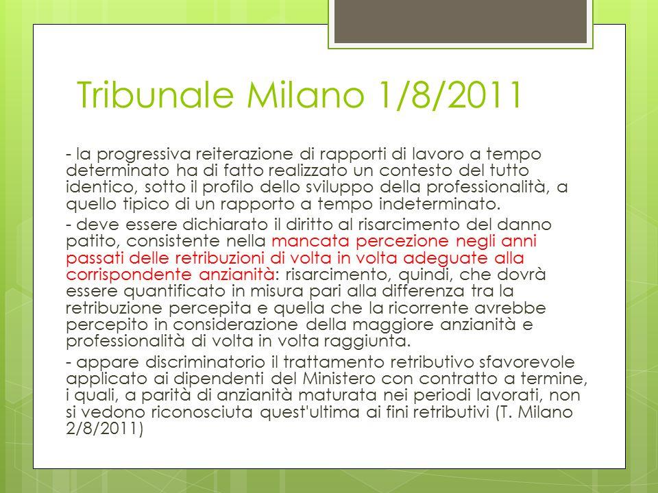 Tribunale Milano 1/8/2011 - la progressiva reiterazione di rapporti di lavoro a tempo determinato ha di fatto realizzato un contesto del tutto identico, sotto il profilo dello sviluppo della professionalità, a quello tipico di un rapporto a tempo indeterminato.