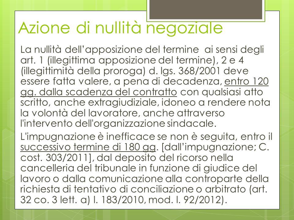 Azione di nullità negoziale La nullità dell'apposizione del termine ai sensi degli art. 1 (illegittima apposizione del termine), 2 e 4 (illegittimità