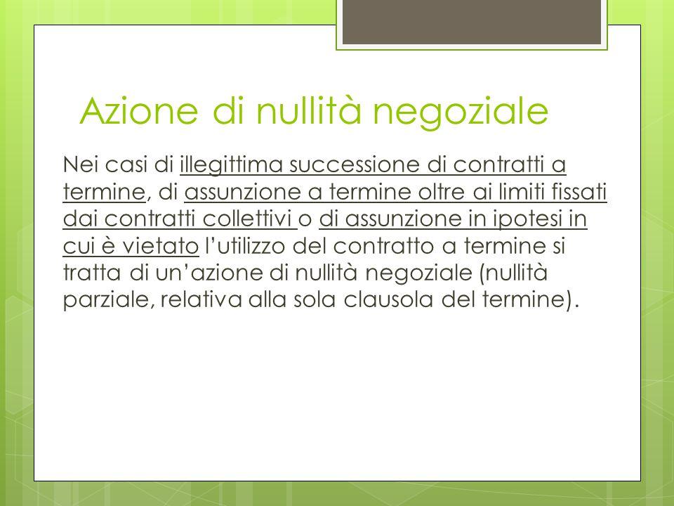 Azione di nullità negoziale Nei casi di illegittima successione di contratti a termine, di assunzione a termine oltre ai limiti fissati dai contratti