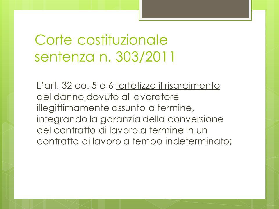 Corte costituzionale sentenza n. 303/2011 L'art. 32 co. 5 e 6 forfetizza il risarcimento del danno dovuto al lavoratore illegittimamente assunto a ter