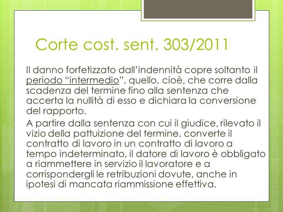 """Corte cost. sent. 303/2011 Il danno forfetizzato dall'indennità copre soltanto il periodo """"intermedio"""", quello, cioè, che corre dalla scadenza del ter"""