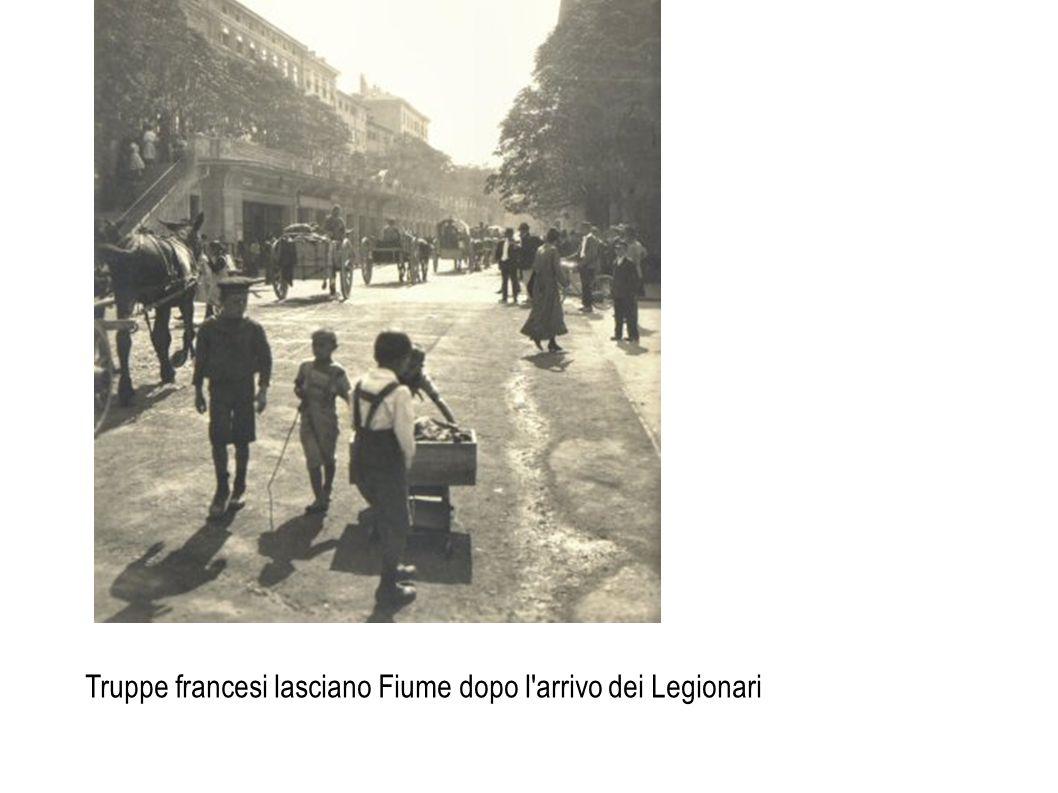 Truppe francesi lasciano Fiume dopo l'arrivo dei Legionari